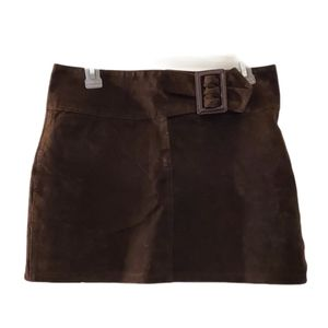 Olly London Brown Leather Lined Mini Skirt 8